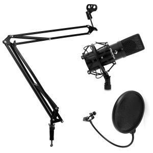 Studio Mikrofonset mit Mikrofon & Mikrofonarmstativ & Pop-Schutz schwarz