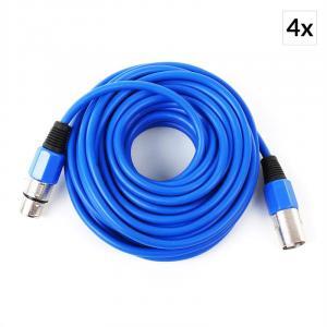 4x XLR-Kabel 10m blau männlich zu weiblich