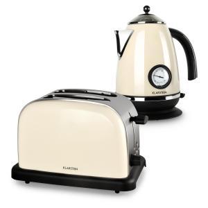Aquavita Frühstücksset Creme Wasserkocher Toaster creme