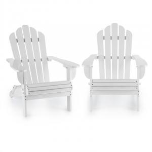 Vermont Gartenstuhl 2er Set Adirondack-Stil Tannenholz weiß