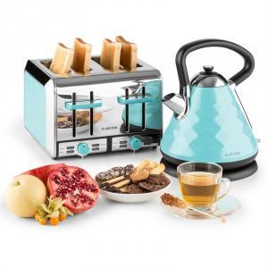 Curacao Azur Frühstücksset Wasserkocher 4-Scheiben-Toaster blau