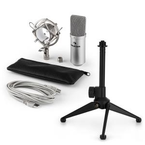 MIC-900S USB Mikrofonset V1 | silbernes Kondensator-Mikrofon | Tischstativ