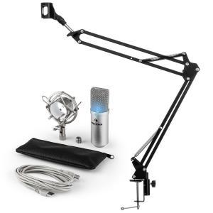 MIC-900S-LED USB Mikrofonset V3 Kondensatormikrofon Mikrofonarm LED silber