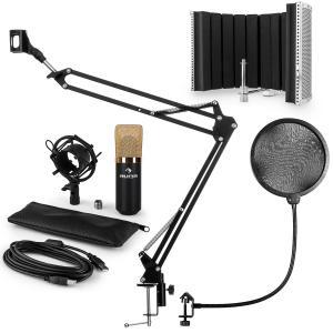 MIC-900BG USB Mikrofonset V5 Kondensator Pop-Schutz Schirm Arm gold