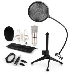 CM001S Mikrofon-Set V2 Kondensatormikro USB-Adapter Mikrofonstativ silber