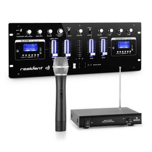 DJ405USB-BK 4-Kanal-DJ-Mischpult inkl.1-Kanal-VHF-Funkmikrofon Set