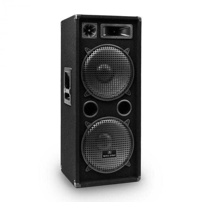 PW-2222 PA DJ 3-Wege Box Lautsprecher 2 x 30cm 1000W max. 500W RMS schwar