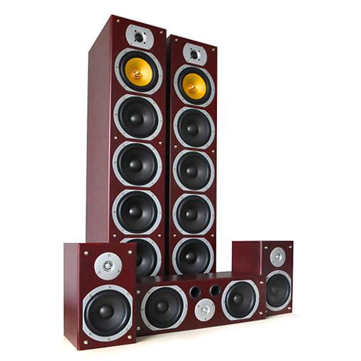 V9B Surround Lautsprecher Set Mahagoni, 5 Stück 1240W