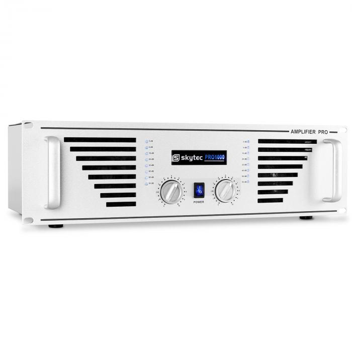 SKY-1000 PA-Verstärker Endstufe 2 x 1000W max. silber