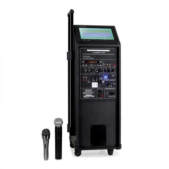 Port 9 Mobile PA-Anlage DVD-Player 23cm Display Akku Trolley