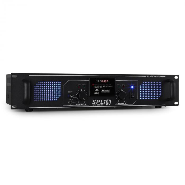 SPL-700 PA-HiFi-Verstärker 2 x 350W USB-SD-MP3