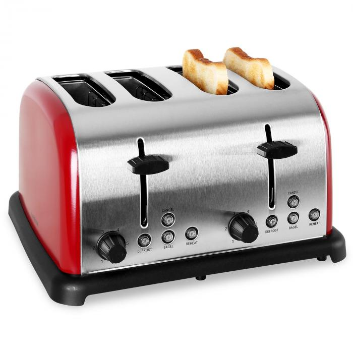 TK-BT-211-R Toaster 4-Scheiben Edelstahl 1650W rot