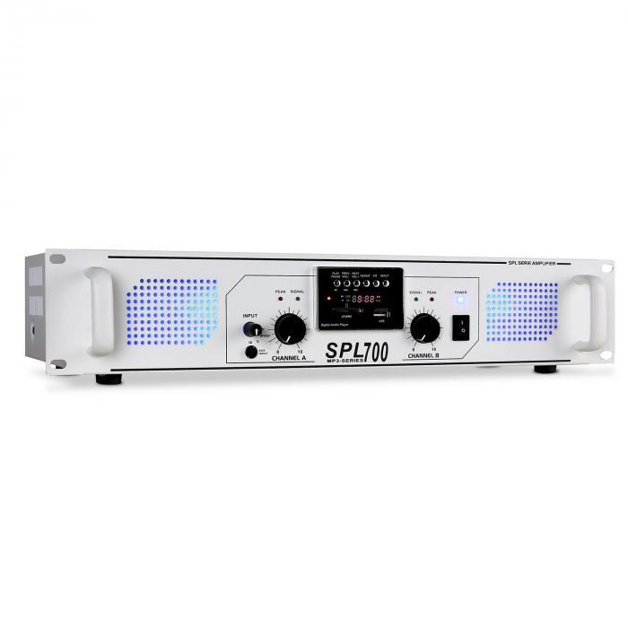 SPL-700 PA-Verstärker USB-SD-MP3 2 x 350W weiss