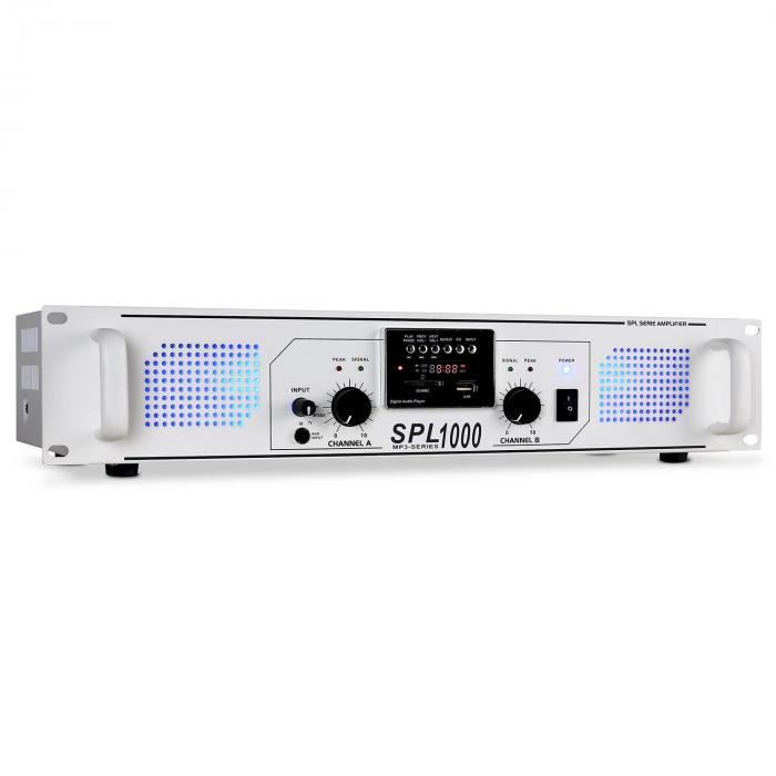SPL-1000 PA-Verstärker USB-SD-MP3 2 x 500W weiß