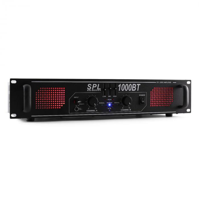 SPL 1000BT Hifi-PA-Verstärker Bluetooth AUX LED EQ 1000W