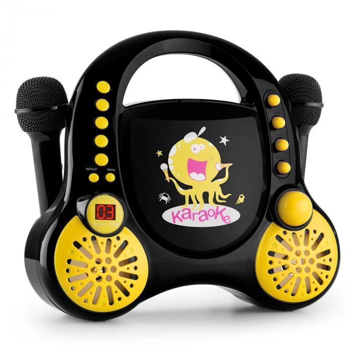 Rockpocket Kinder-Karaokesystem CD AUX 2x Mikrofon Sticker Set schwarz