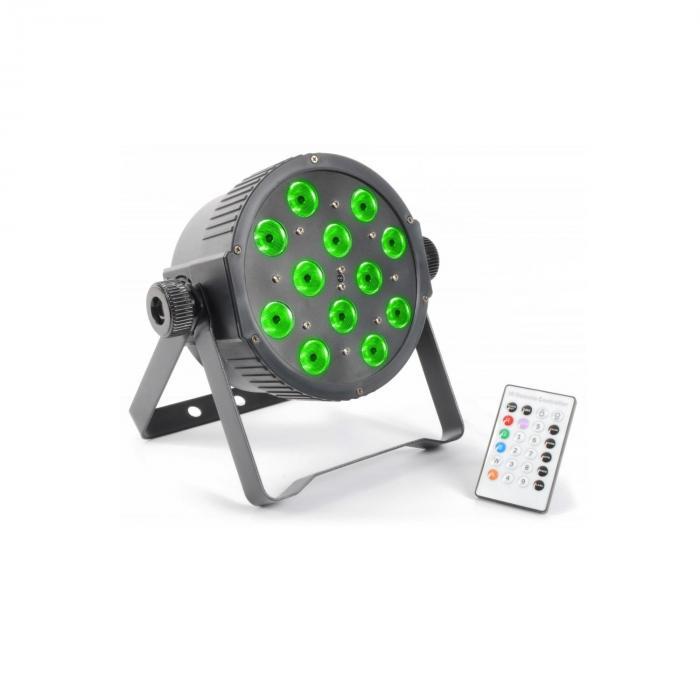 FlatPAR 12x 3W Tri-color LED DMX IR inkl. Fernbedienung