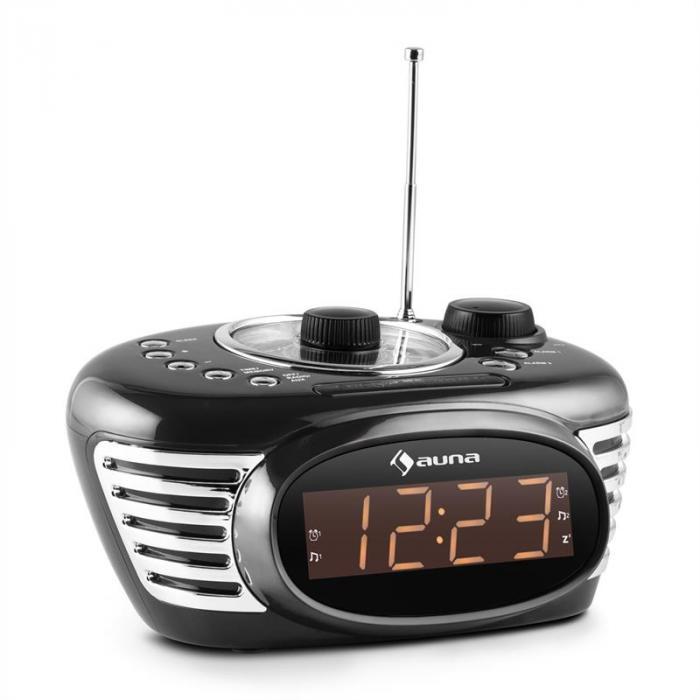 RCR 56 BK Retro Weckerradio Uhrenradio UKW AUX Dual-Alarm schwarz