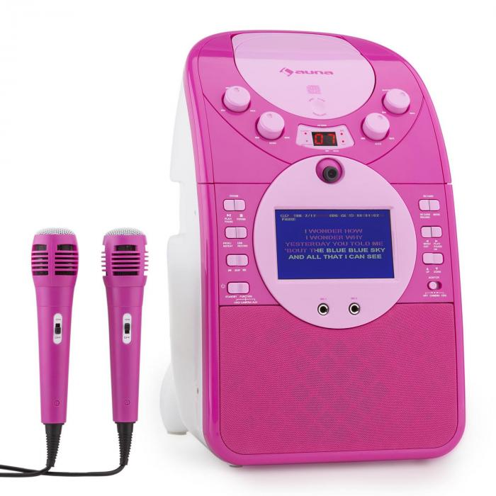 ScreenStar Karaokeanlage Kamera CD USB SD MP3 inkl. 2 x Mikrofon pink