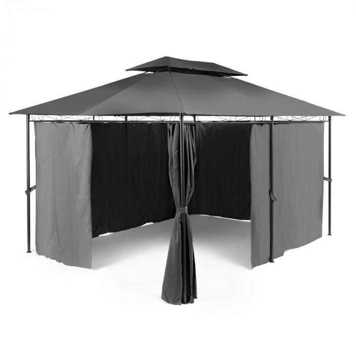 Grandezza Gartenpavillon Partyzelt 3x4m Stahl Polyester dunkelgrau