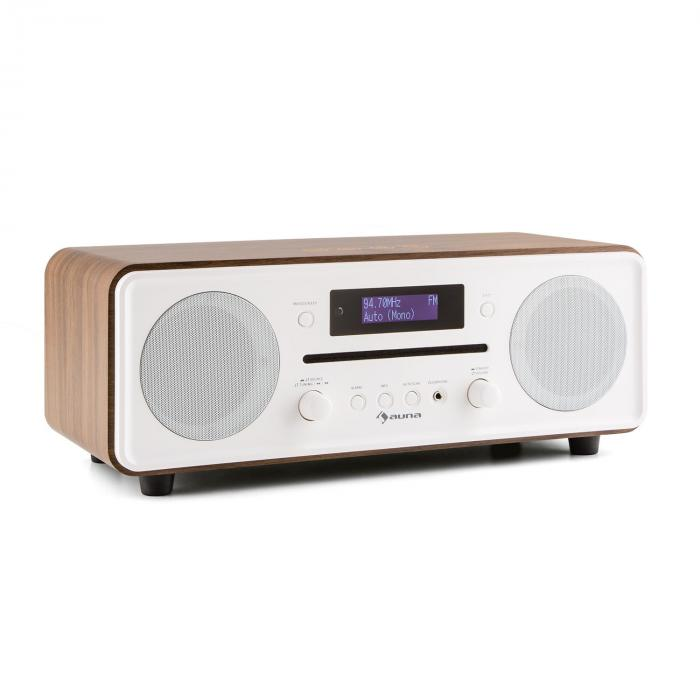 Melodia CD DAB+/UKW Desktop Radio CD-Player Bluetooth Alarm Snooze walnuss