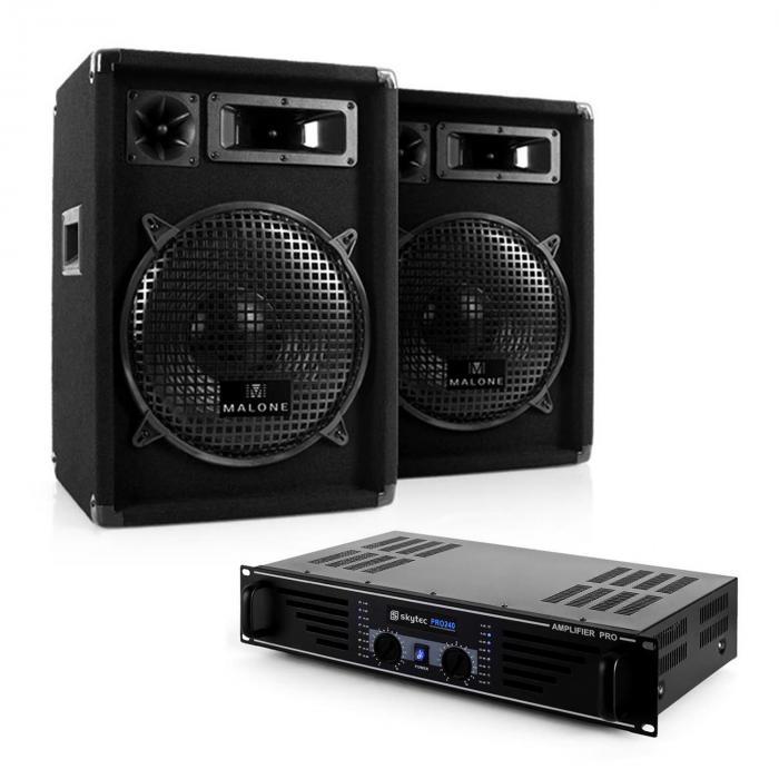 "DJ PA Komplettset ""Nizza Nights"" Verstärker 2x Boxen"