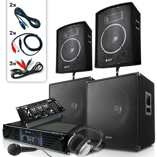 """DJ PA Set """"Bassbergen USB"""" 4xBox 1x Endstufe 1x Mixer 2000W"""