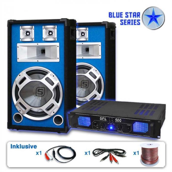 """PA Set Blue Star Series """"Basskick"""" Lautsprecher Verstärker"""