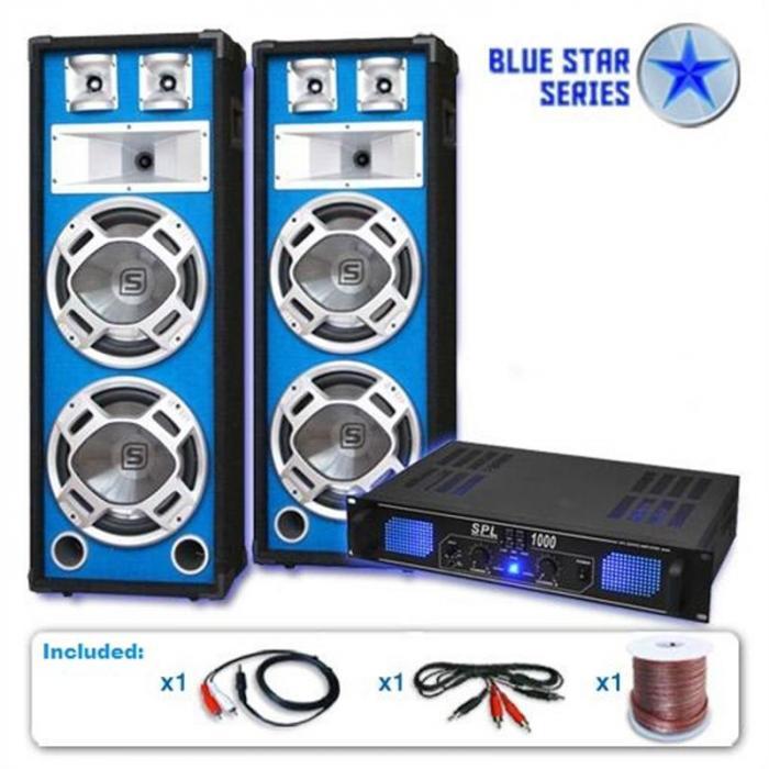 """PA Set Blue Star Series """"Basskern"""" Lautsprecher Verstärker"""
