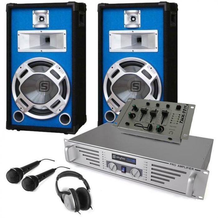 """DJ Komplett-Set """"Durch-Starter"""" Verstärker Boxen Mixer"""