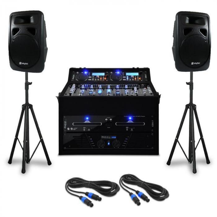"DJ PA Set ""Punch Line"" 300 Personen 1200W Mixer USB"