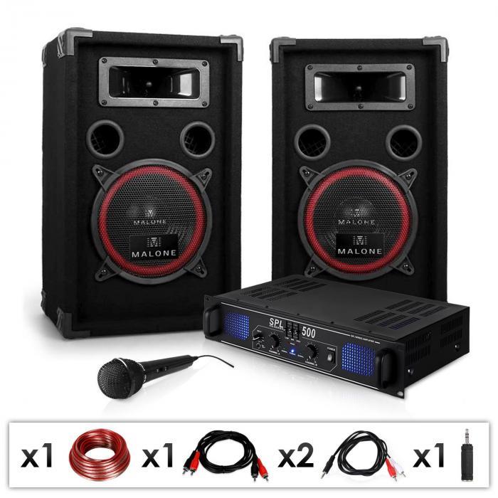 """DJ PA Set """"DJ-14"""" PA-Verstärker, Lautsprecher, 2 x 250W max."""