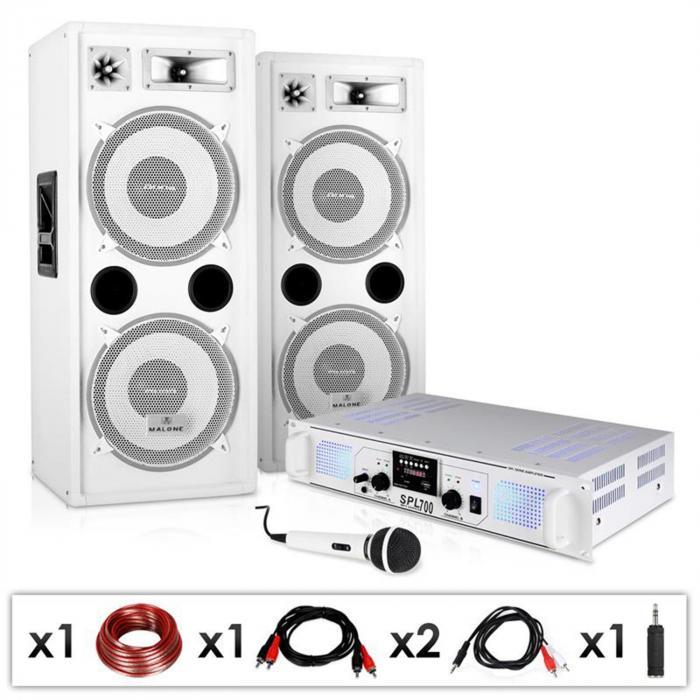"DJ PA Anlage ""DJ-22"" Verstärker Boxen Mic Kabel 2 x 350W"