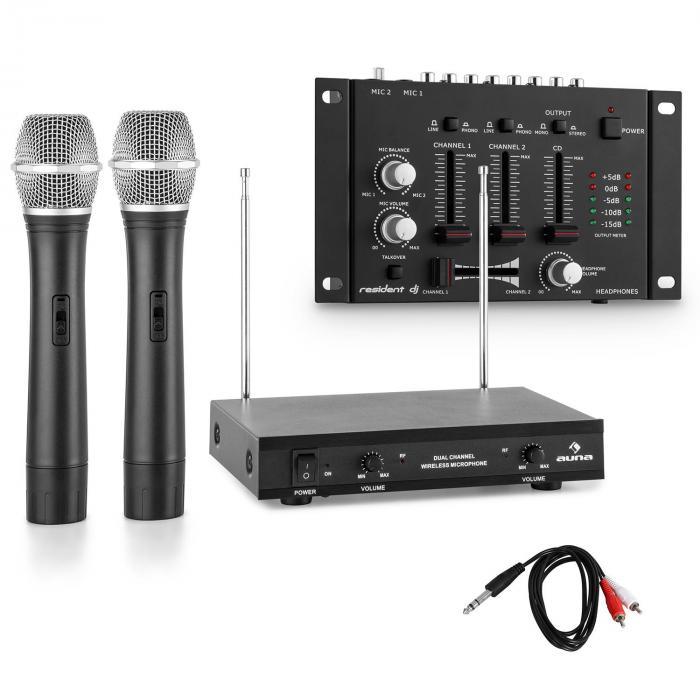 Funkmikrofon-Set mit 3 Kanal Mixer schwarz