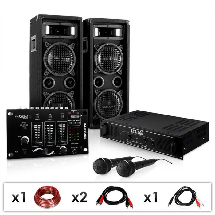 """DJ PA SET """"DJ-24M"""" Endstufe Mixer Boxen Mic 1200W"""
