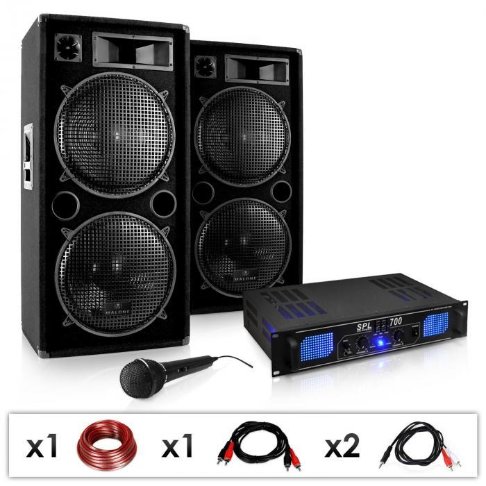 """DJ PA SET """"DJ-26""""- Endstufe PA Boxen Mikro 2000W"""