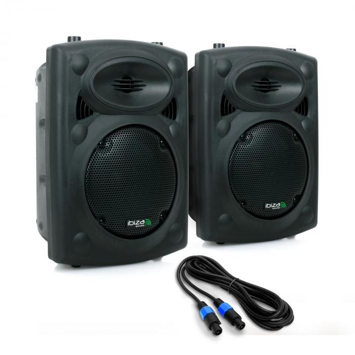 "SLK Paar PA-Boxen 2x 20CM (8"") Master Slave 600W USB SD MP3"