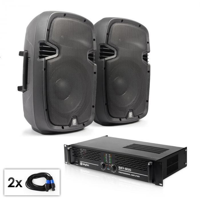 """PA Set """"SPJ Boom 10MKII"""" Paar 25cmLautsprecher & Verstärker 800W"""