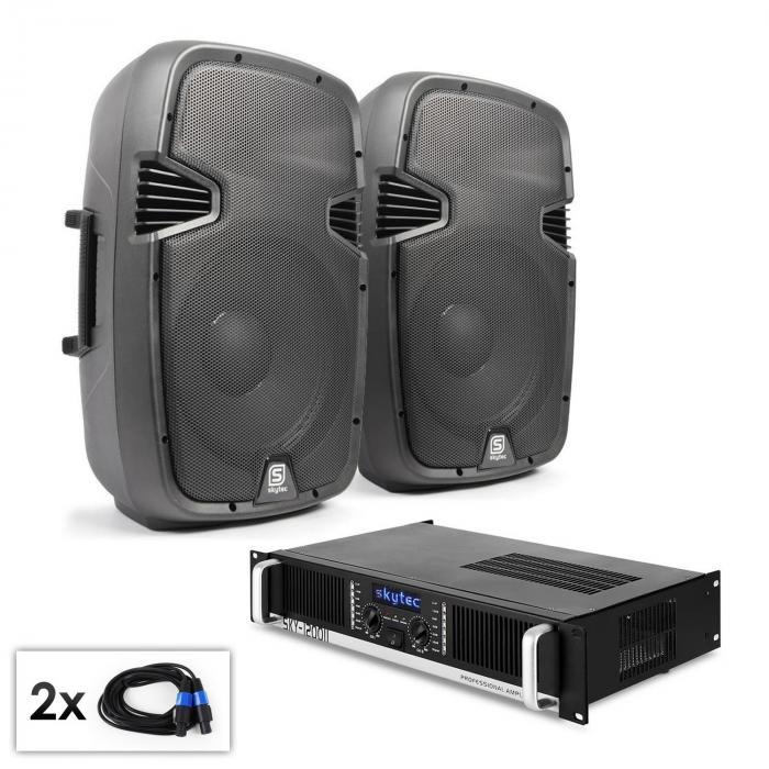 """PA Set """"SPJ Boom 12 MKII"""" Paar 30cm Lautsprecher & Verstärker 1200W"""