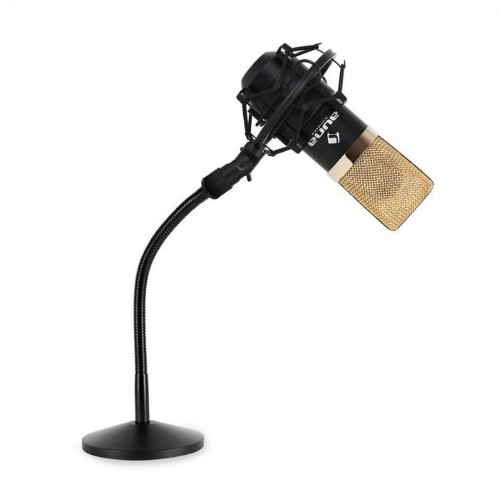 Studio Mikrofonset mit USB Mikrofon in gold/schwarz & Mikrofontischstativ