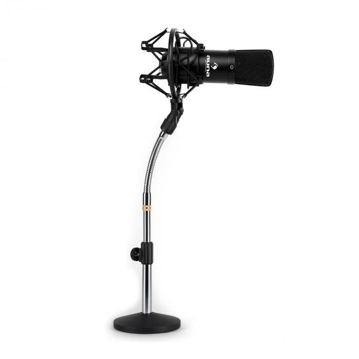 Studio Mikrofonset mit XLR Kondensator Mikrofon schwarz & Mikrofontischstativ