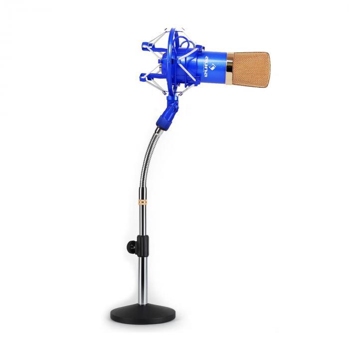 Studio Mikrofonset mit XLR Kondensator Mikrofon blau/gold & Mikrofontischstativ