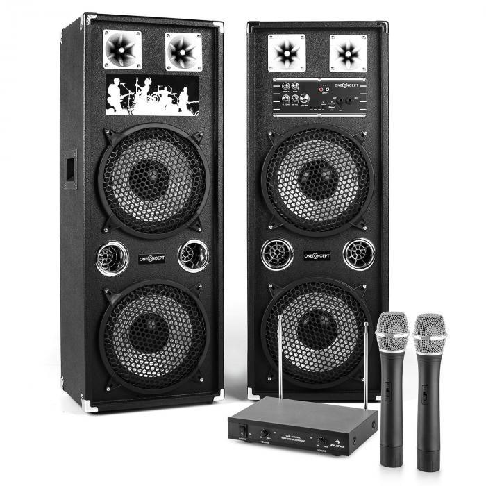 """PA Karaoke Set 10"""" aktives PA-Boxen-Set 80W   2-Kanal-VHF-Funk-Mikrofon-Set"""