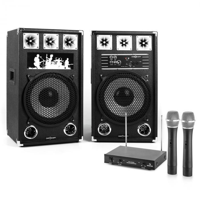 """Karaoke-Anlage """"STAR-12A"""" aktives PA-Boxen-Set   2-Kanal-VHF-Funk-Mikrofon-Set"""