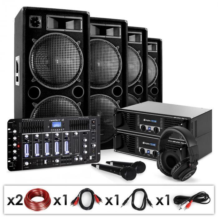 "DJ PA Set ""Bass First Pro Bluetooth"" 2x Amp 4x Boxen Mixer 4000W"