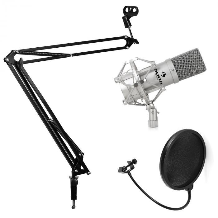 Studio Mikrofonset mit Mikrofon & Mikrofonarmstativ & Pop-Schutz silber
