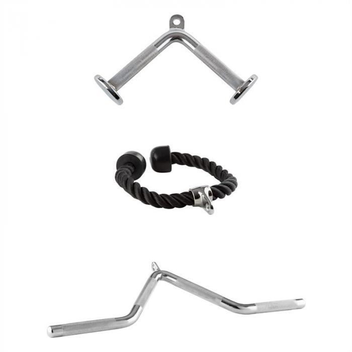 Triceps 3 Kabelzug Set2 x verchromter Stahl 1x Nylon