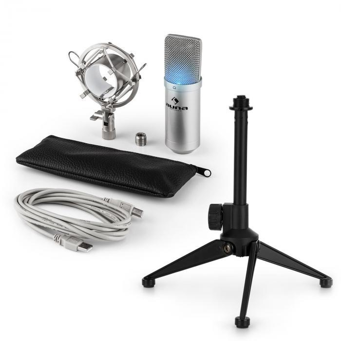 MIC-900S-LED USB Mikrofonset V1 silbernes Kondensator-Mikrofon Tischstativ