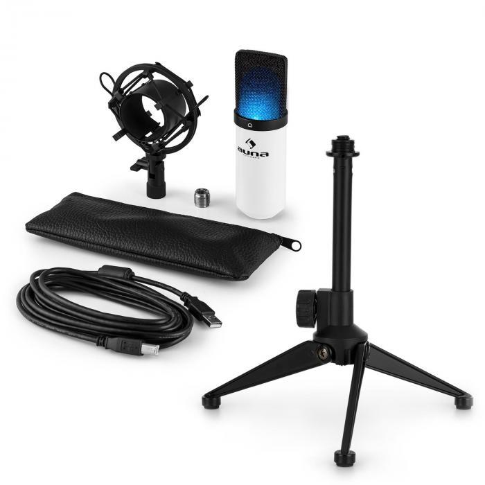 MIC-900WH-LED USB Mikrofonset V1   weißes Kondensator-Mikrofon Tischstativ