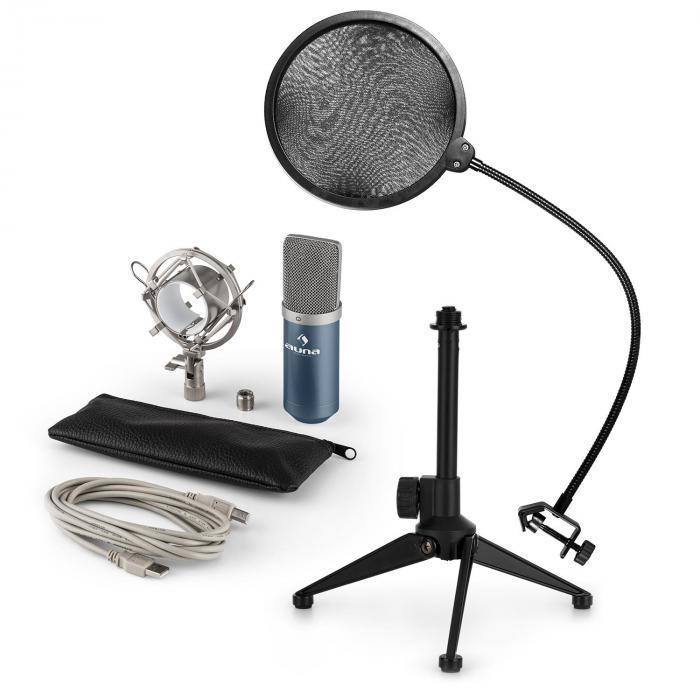 MIC-900BL USB Mikrofonset V2 | Kondensator-Mikrofon |Popschutz |Tischstativ